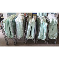 Qty 5 Folding Roll-Away Metal Frame Cot Beds w/ Mattress