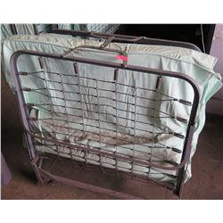 Qty 1 Folding Roll Away Metal Frame Cot Beds w/ Mattress