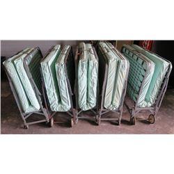 Qty 4 Folding Roll Away Metal Frame Cot Beds w/ Mattress
