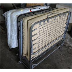 Qty 2 Folding Roll Away Metal Frame Cot Beds w/ Mattress