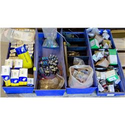 4 TRAYS OF ELECTRICAL COMPONENTS INCL: BUTTONS,