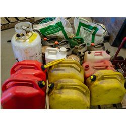 PALLET OF ASSORTED JERRY CANS, PROPANE TANKS,