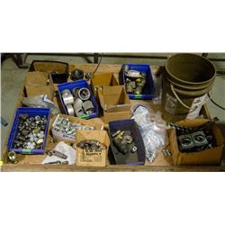TRAY OF ASSORTED PIPE FITTINGS, NIPPLES, CLAMPS &