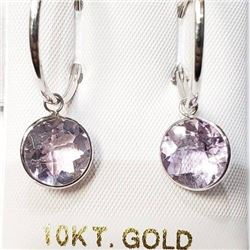 Ladies Natural cut Amethyst Rose De France Round cut 6.8ct stones, 10Kt gold earring set with apprai