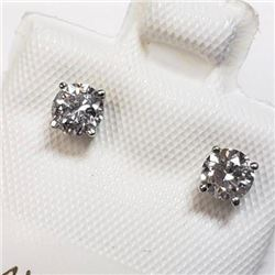 NEW Set of .48 carat diamond solitaire earrings set in 14KT white gold with appraisal document $2125