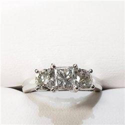 Ladies NEW 14K white gold triple diamond anniversary ring with one princess cut And 2 round diamonds