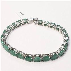 Ladies .925 Silver bracelet set with 14.2 carats of natural emerald gemstones includes appraisal doc