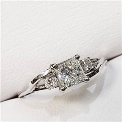 Ladies Princess Cut .60 ct diamond solitaire 14kt gold anniversary engagement ring with appraisal do
