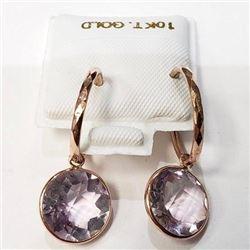 Ladies rounds cut amethystgemstone 10K gold earring set.
