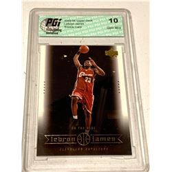 Lebron James upper deck on the rise graded and cased mint rookie card. graded 10 by PGi