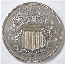 1866 SHIELD NICKEL AU/BU