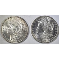 1884-O & 85-O MORGAN DOLLARS CH BU
