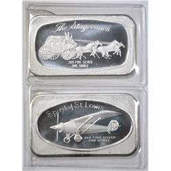 2-VINTAGE ONE OUNCE .999 SILVER BARS