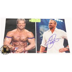 WWE LEX LUGAR & CHRISTIAN SIGNED 8X10 PHOTOS