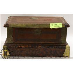 1937 MAHOGANY & BRASS JEWELRY BOX BY JACK HOULE