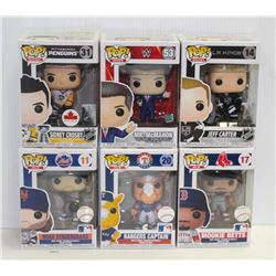 LOT OF 6 ASSORTED FUNKO POPS:SPORTS VARIETY PACK-
