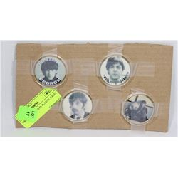 4 BEATLES  COINS IN PLASTIC CASES