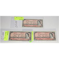LOT OF 3 1954 CANADIAN $2 DOLLAR BILL