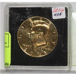 2014 USA GOLD FILLED KENNEDY HALF DOLLAR