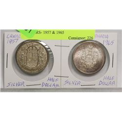 2 CANADIAN SILVER HALF DOLLARS- 1957 & 1965