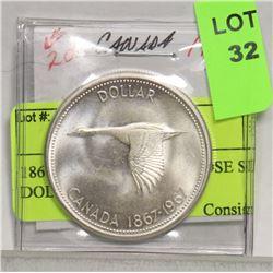 1867 - 1967 CANADA GOOSE SILVER DOLLAR BU