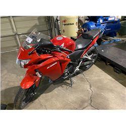 2013  HONDA CBR250 MOTORCYCLE, RED, VIN # MLHMC4121D5400140