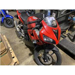 2007 HONDA MOTORCYCLE 33,739KMS, RED, VIN # MLHJC392975000140