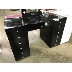 """BLACK 13 DRAWER GLASS TOP VANITY, 51"""" WIDE X 23.5"""" DEEP X 33"""" TALL, MIRROR NOT INCLUDED"""