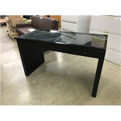 "BLACK 3 DRAWER GLASS TOP VANITY, 51"" WIDE X 23.5"" DEEP X 30"" TALL, MIRROR NOT INCLUDED"