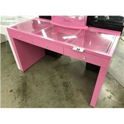 "PINK 3 DRAWER GLASS TOP VANITY, 51"" WIDE X 23.5"" DEEP X 30"" TALL, MIRROR NOT INCLUDED"