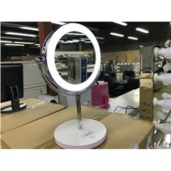"CASE OF 4X WHITE BASE AND CHROME FRAME MIRROR WITH LED RING, MIRROR 6"" WIDE, 13"" TALL INC. BASE"