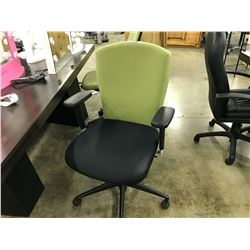 LOT OF 7 ASSORTED LIGHT GREEN FABRIC TASK CHAIRS, CONDITION ISSUES