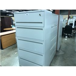 GREY 5 DRAWER LATERAL FILE CABINET