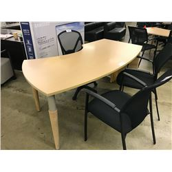 LIGHT MAPLE 6' BOW FRONT LEFT HAND COMPUTER TABLE