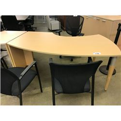 LIGHT MAPLE 6' BOW FRONT RIGHT HAND COMPUTER TABLE