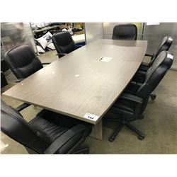 ASH GREY 8' X 4' BOAT SHAPE BOARDROOM TABLE WITH WIRE MANAGEMENT HARNESS