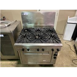 "QUEST STAINLESS STEEL NATURAL GAS 6 BURNER MOBILE 26"" CONVECTION OVEN WITH BACKSPLASH"