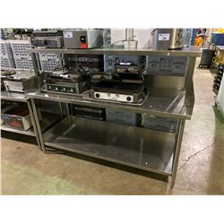 """COMMERCIAL STAINLESS STEEL 73""""W X 30""""D X 36""""H PREPARATION TABLE WITH BACKSPLASH & 73""""W X 24""""D  X"""