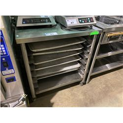 "COMMERCIAL STAINLESS STEEL 32""W X 30""D X 36""H MOBILE TRAY STORAGE EQUIPMENT STAND WITH 6 COOLING"