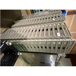 STACK OF 38 GREY INTERLOCKING CULINARY TRAYS ON MOBILE CART