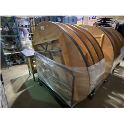 """STACK OF 8 WOODEN 58"""" ROUND FOLDING EVENT TABLES ON MOBILE TABLE CART"""