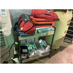 2 TIER MOBILE CART OF FIRST AID PRODUCTS