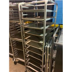 12 SECTION ALUMINUM MOBILE BAKERS RACK WITH 12 BAKING SHEETS