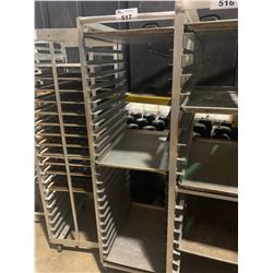 25 SECTION ALUMINUM MOBILE BAKERS RACK WITH 3 BAKING SHEETS