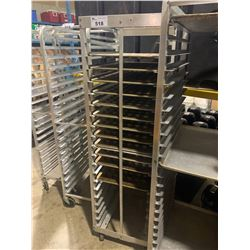 20 SECTION ALUMINUM MOBILE BAKERS RACK WITH 12 MINI MUFFIN BAKING SHEETS