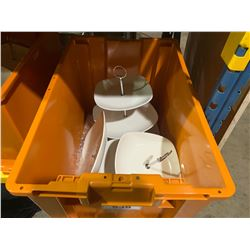 ORANGE BIN OF WHITE 3 TIER PASTRY / CUP CAKE DISPLAYS ( BIN INCLUDED )