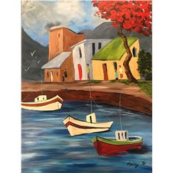 Untitled - by Nancy Hennessy, An idyllic setting of fishing boats near the shore, this view could be
