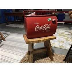 "COCA COLA METAL LINED ICE BOX (APPROX 17.9 X 13"") & WOODEN TEAK STOOL (REQUIRES MINOR REPAIR)"