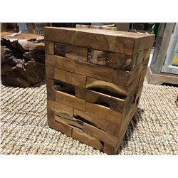 """SQUARE TEAK TABLE/STOOL (APPROX 14"""" X 17.5"""")"""