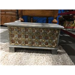 """PAINTED WOODEN TRUNK (APPROX 32"""" X 15"""" X18"""") MSRP $649"""